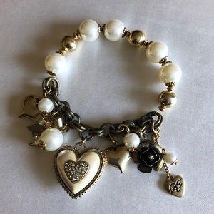 Betsey Johnson charm pearl stretch bracelet
